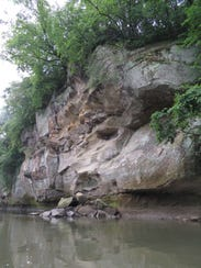 Paddlers will encounter rock bluffs along the South