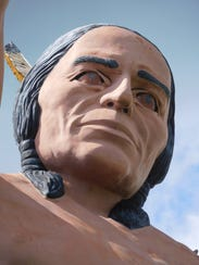 A close-up of the statue's face.
