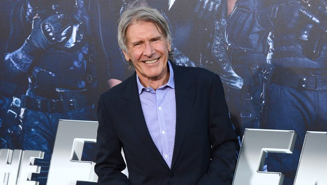 """Harrison Ford arrives at the premiere of """"The Expendables 3"""" at TCL Chinese Theatre in Los Angeles on Aug. 11, 2014."""