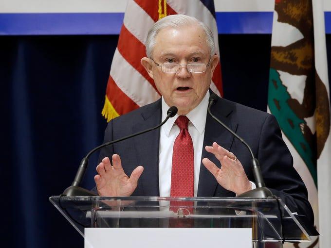 U.S. Attorney General Jeff Sessions addresses the California