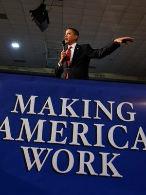 President Barack Obama held a town hall-style meeting about the economic stimulus package on Feb. 9, 2009, at Concord Community High School in Elkhart, Ind.