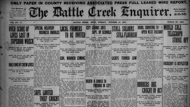 The front page of the Battle Creek Enquirer on Oct. 12, 1907.