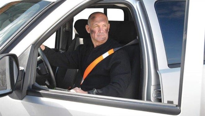 An operation order was released from ATEC Headquarters mandating all government vehicle driver seat belts be installed with high-visibility seat belt covers like the one in this photo.