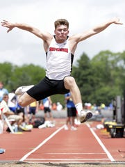 Stevens Point Area Senior High's Trent Hamerski competes in the Division 1 boys long jump during the WIAA state track and field meet Friday at Veterans Memorial Stadium in La Crosse.