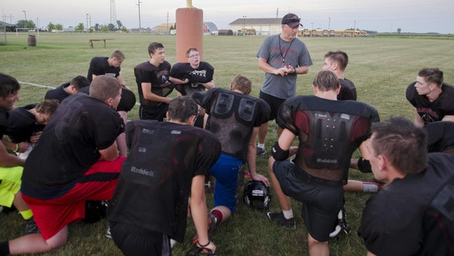 Sandusky Coach Craig Jacobson talks to his players at the end of their practice Wednesday, Aug. 10 2016 at Sandusky High School.