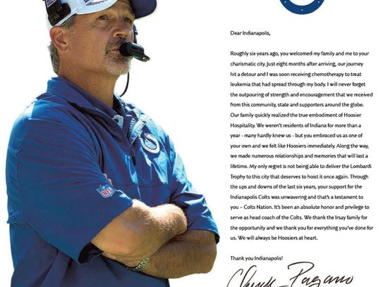 Chuck Pagano's Thank You  ad to Colts appeared in IndyStar