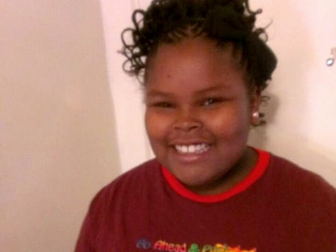 This undated photo provided by the McMath family and Omari Sealey shows Jahi McMath, who remains on life support at Children's Hospital Oakland after doctors declared her brain dead following a  tonsillectomy.