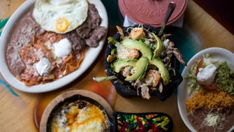 Dishes at El Patron at S. 6th and W. Hayes streets include (clockwise from top) desayuno El Patron, molcajete with rice and beans, and queso fundido with chorizo and peppers.