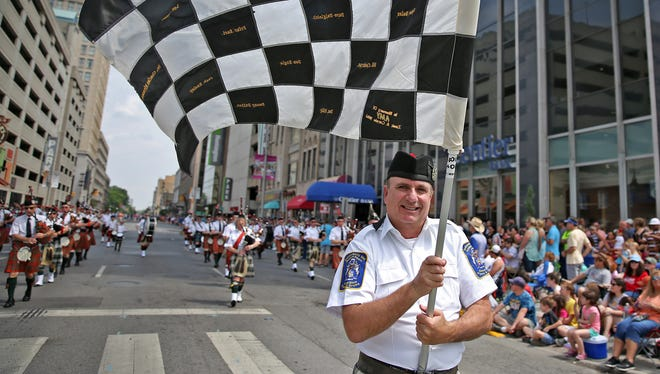 The Indianapolis 500 Gordon Pipers performed at the IPL 500 Festival Parade, Saturday, May 28, 2016.