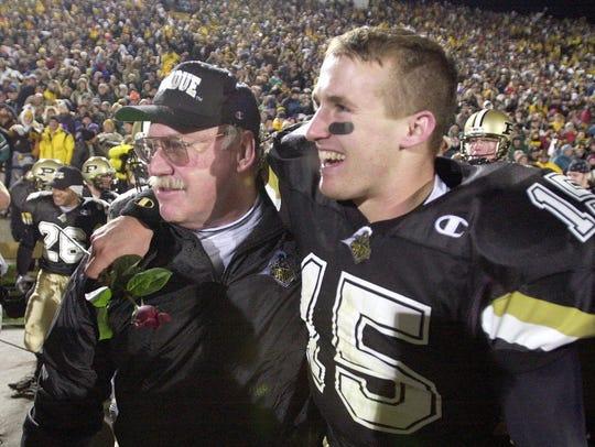 Purdue coach Joe Tiller and quarterback Drew Brees