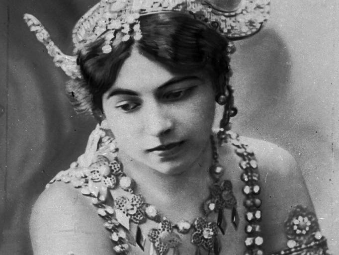 """An undated photo of dancer """"Mata Hari."""" Margaretha Geertruida Zelle, also known as Mata Hari, was also an alleged spy executed in France during World War I for spying for Germany."""