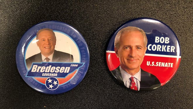 Old campaign buttons tout Phil Bredesen for governor and Bob Corker for senator.