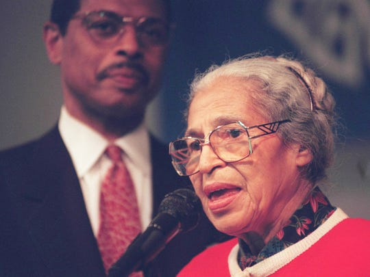 Rosa Parks speaks at Lynch Elementary School in Detroit in 1996.