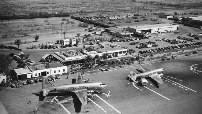 In 1935, when the city of Phoenix purchased a remote airfield that would become today's Sky Harbor Airport (shown here in the early 1950s), no one could have imagined a six-decade feud between the airport and Tempe over complaints about aircraft noise that began at the dawn of the jet age.