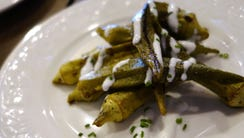 The restaurant's namesake dish, grilled okra, at Okra