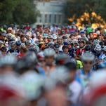 Riders wait for the start of the 2014 Gran Fondo in Morristown.