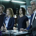 """David Berman, from left, Marg Helgenberger, Jorja Fox, William Petersen and Ted Danson appear in a scene from the 2-hour series finale of """"CSI: Crime Scene Investigation,"""" airing on Sunday at 8 p.m. on CBS."""