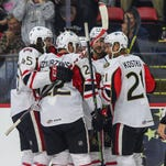 The Binghamton Senators defeated the Albany Devils, 4-1, in their season-opening game at the Floyd L. Maines Veterans Memorial Arena on Saturday, Oct. 10.