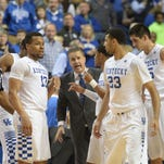 UK head John Calipari talks to the team during the University of Kentucky basketball game against Florida at Rupp Arena in Lexington, Ky., on Saturday, February 6, 2016.  Photo by Mike Weaver