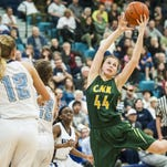 Great Falls High's Hannah Collins looks to score during the girls' crosstown game in Swarthout Fieldhouse Tuesday.