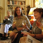 """In this 2011 file photo, The Last Thursday Book Club discusses the book, """"Aunt Julia and the Scriptwriter"""" by Mario Vargas Llosa. Pictured: Betty Sloan Potts, left, Mary Louise Gorman, Chandra Gordon, center, Mary Dennis Kannapell and  Rebecca Henderson."""