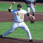 Iowa pitcher C.J. Eldred (33) throws in the top of the first inning against Maryland at Duane Banks Field in Iowa City on Friday, March 25, 2016.