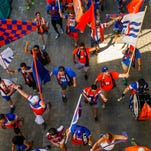 Fans enter Nippert Stadium to attend the friendly match between FC Cincy and Premier League's Crystal Palace FC Saturday, July 16, 2016.