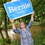 Sheri Morgan, photographed Friday, July 22, 2016 with her Bernie Sanders sign, will be headed to the Democratic National Convention in Philadelphia on Monday.