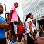 31 runners from the Lakota and Dakota youth stopped in Des Moines while on a 2,000-mile relay-run to Washington, D.C. to deliver a petition to the president opposing the Bakken Pipeline on Saturday, July 23, 2016.