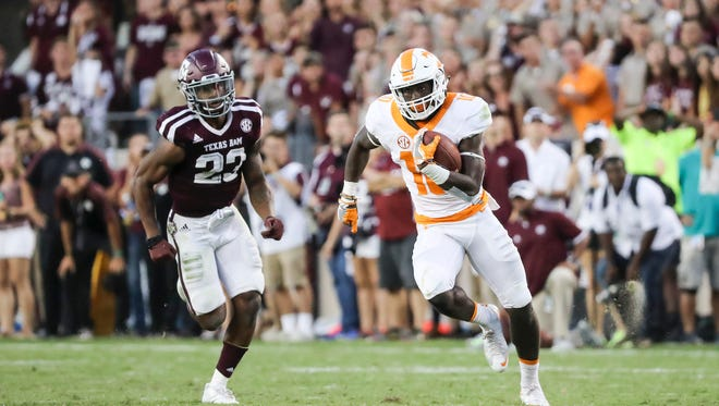 Wide receiver Tyler Byrd (10) of the Tennessee Volunteers during the game between the Texas A&M Aggies and the Tennessee Volunteers at Kyle Field in College Station, Texas on Oct. 6, 2016.