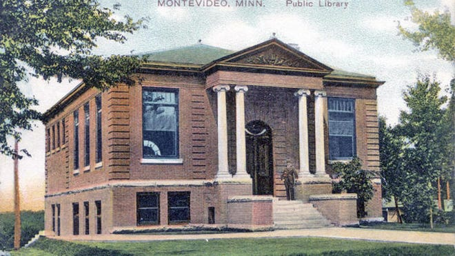 This hand-tinted postcard view of Montevideo's Carnegie Library was taken the year it opened in 1907.