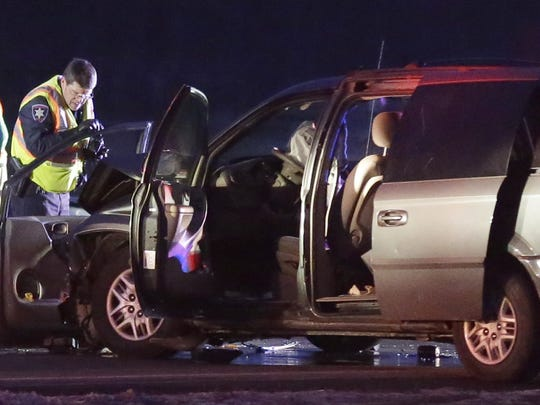 Authorities respond to a March 2016 fatal crash at the intersection of Winnebago County CB and Oakridge Road in the Town of Neenah.
