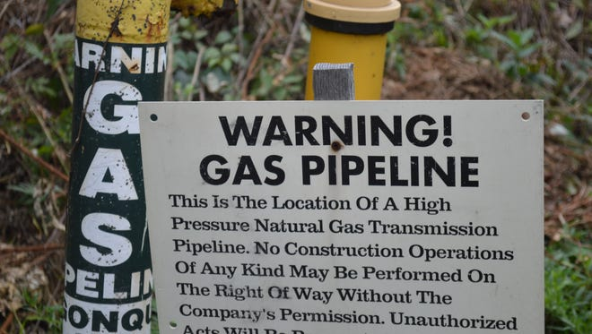 A warning sign for the Algonquin  pipeline warns contractors at Bleakley Avenue in Buchanan.