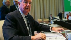 WADA President Craig Reedie attends the World Anti-Doping Agency's board meeting in Baku, Azerbaijan, Thursday, Nov. 15, 2018. The World Anti-Doping Agency's board meets Thursday to discuss issues including Russia's record on drug-testing, following disputes over alleged bullying within WADA. (AP Photo)