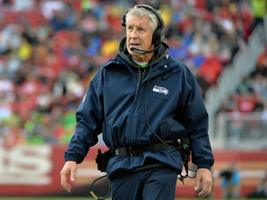 FILE - In this Nov. 26, 2017, file photo, Seattle Seahawks head coach Pete Carroll looks on during the first half of an NFL football game against the San Francisco 49ers in Santa Clara, Calif. The Seahawks are to face the Jacksonville Jaguars on Sunday, Dec. 10, 2017. (AP Photo/Don Feria, File)