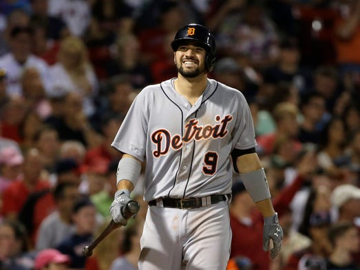 Detroit Tigers' Nick Castellanos reacts after swinging
