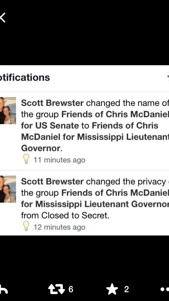 "A ""Friends of Chris McDaniel"" Facebook page is urging him to run for lieutenant governor this year."