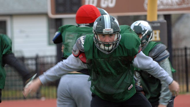 New Milford Junior linebacker Matt McElroy leader of the defense practicing at Dumont high school field for the North 1, Group 1 championship game on Sunday at MetLife Stadium. In Dumont, NJ. December 01, 2016.