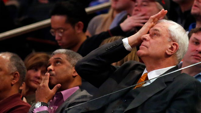 New York Knicks president Phil Jackson looks on during the second half against the San Antonio Spurs at Madison Square Garden.