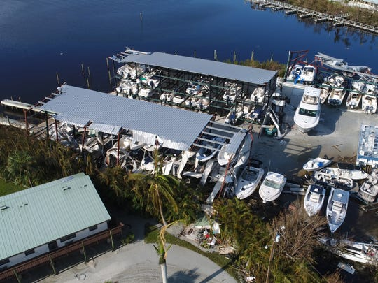 Hurricane Irma left it's mark on a boat storage building Tuesday, Sept. 12, 2017, in the small coastal community of Goodland, Fla.
