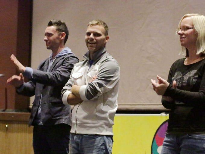 Bryan Roe, left, Tyler Lybert, middle, and Ashleigh