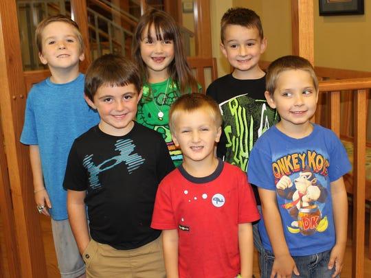 "Six of 10 finishers of the ""1000 Books Before Kindergarten"" program at the library are pictured. From bottom left: Gaige Wilson, Samuel Gordon, Ryan Cooper, Luke Smith, Alivia Gordon and Mason Farris."