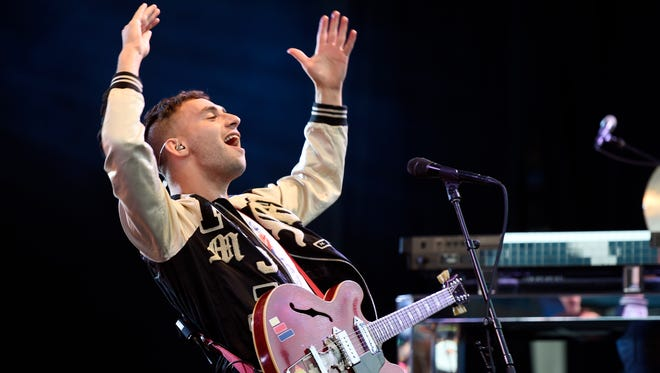 Jack Antonoff of the band Bleachers performs at the Pacific Amphitheatre on Wednesday, July 22, 2015, in Costa Mesa, Calif.