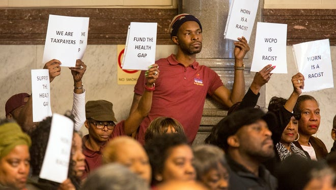 Supporters of The Center for Closing the Health Gap, run by former mayor Dwight Tillery, came out in force at Cincinnati City Council to complain about coverage of the center.