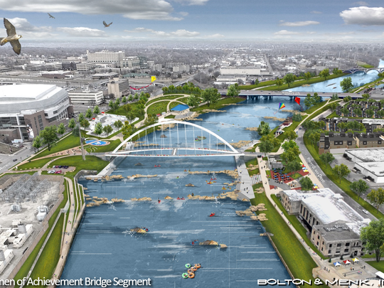 An illustration shows potential concepts and features that could create a more urbanized feel with access to the Des Moines River if the Center Street dam were removed.
