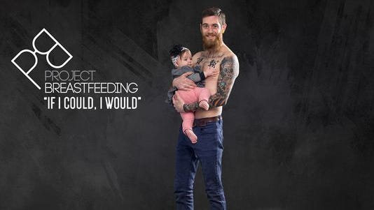 Nashville dad Adam West and his daughter, Althea, pose for Project: Breastfeeding. Hector Cruz started the effort after the birth of his daughter, Sophia.