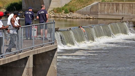The new proposal would ban fishing along the west side of the Des Moines River from Walnut Street to an area south of the Center Street Dam. Fishing immediately below the dam, above, would still be allowed.