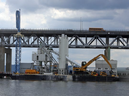 A floating concrete plant being used in the construction of the replacement of the Tappan Zee Bridge, photographed July 17, 2014.
