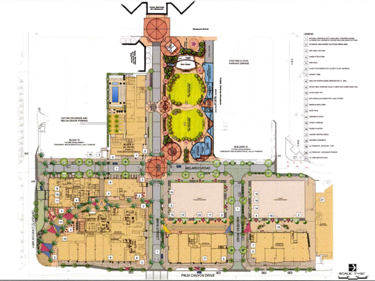 The site design for a proposed park and event space in downtown Palm Springs.