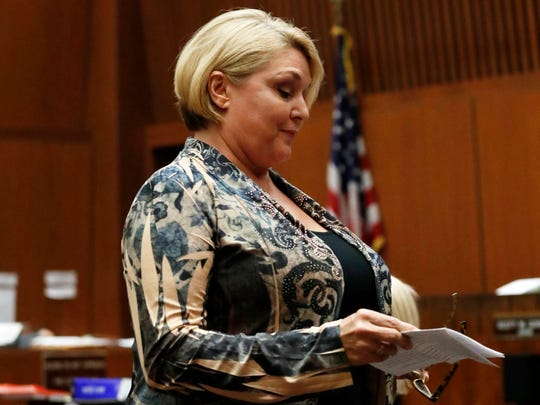 Samantha Geimer in court in Los Angeles, urging judge to end the 40-year-old case against fugitive director Roman Polanski who pleaded guilty to sex with her when she was 13.